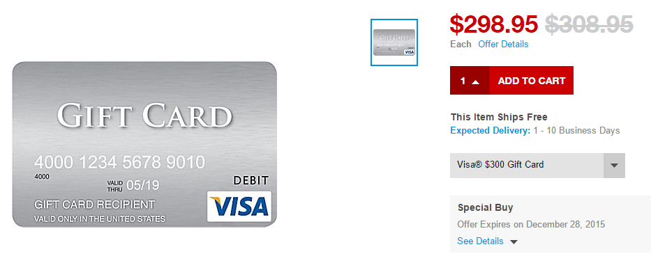 DEAD] $10 off $300 Visa Gift Cards Online at Staples: Purchase for ...