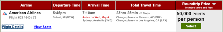 Australia starting at 50,000 points USBank FlexPerks DTW SYD 50K Points
