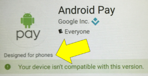 Android Pay Designed for Phones with arrow