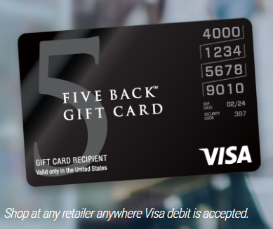Five Back Visa Gift Card