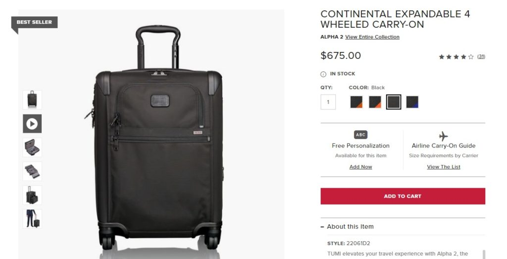 Standard pricing from Tumi.com before 20% off