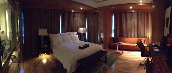 This photo shows my room at the Renaissance Bangkok Ratchaprasong Hotel. I was upgraded to a suite thanks to having Marriott Platinum status.