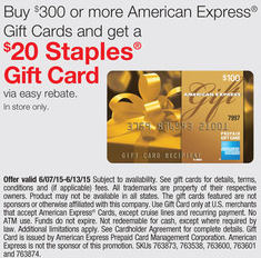 staples amex gift card deal june 2015