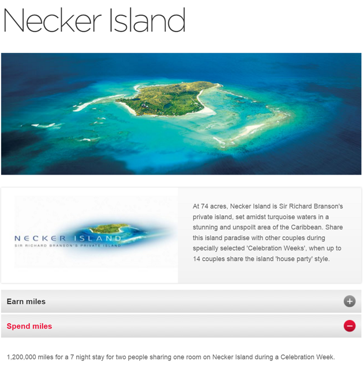 Necker Island Redeem Miles Virgin Atlantic
