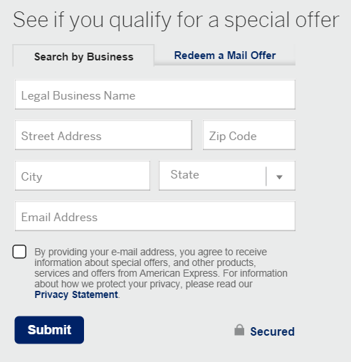 Amex signup bonus offers: check for pre-qualified offer business