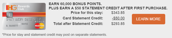 Chase signup bonus offers IHG no status dummy booking