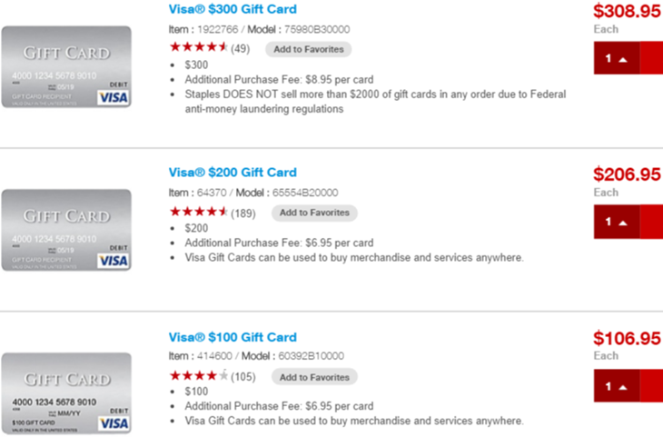 Staples Visa Gift Cards that can be bought with Staples Amex Offer