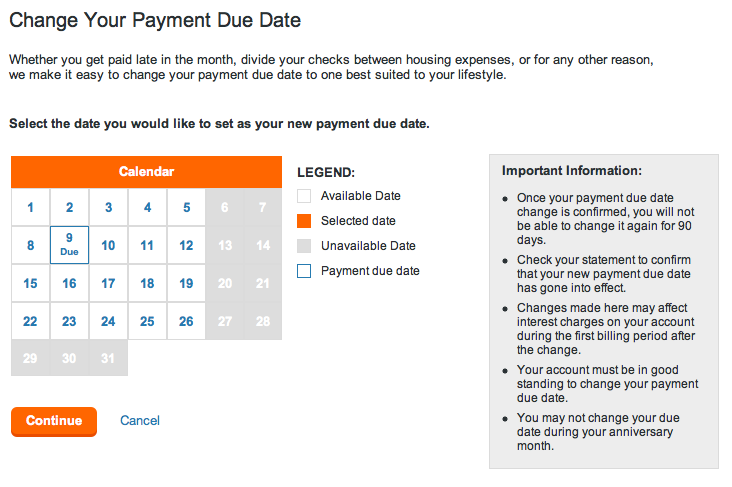 credit card due dates