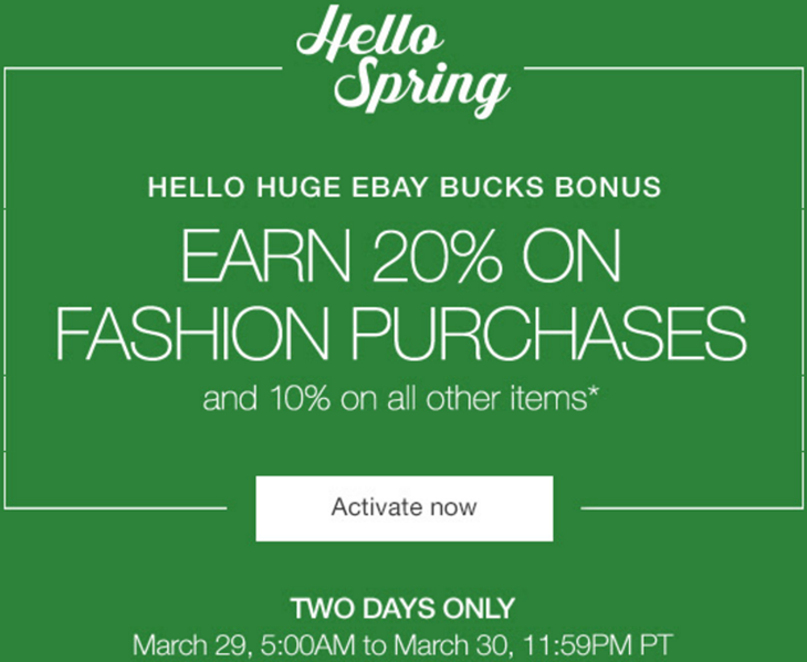 eBay Bucks Promo Example