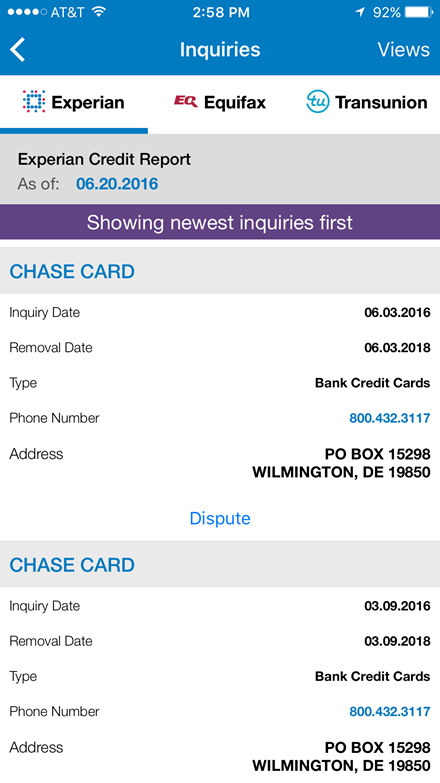 Chase credit inquiries Experian