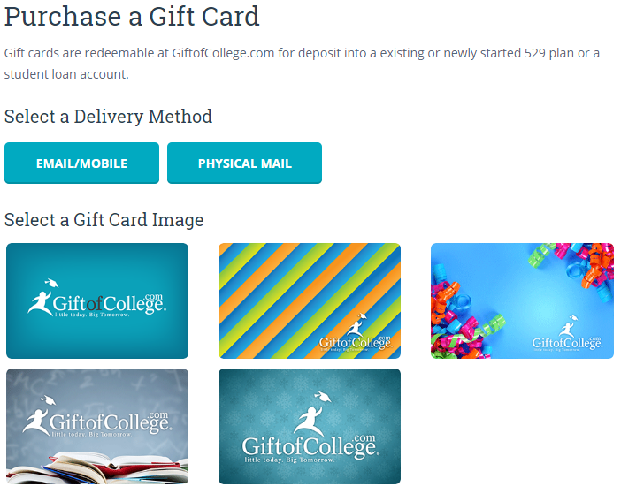 fund college savings with credit card via gift cards