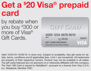 staples visa gift card rebate staples 20 rebate with the purchase of 300 in visa gift 927
