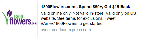Amex Offer 1800Flowers hashtag Amex1800Flowers