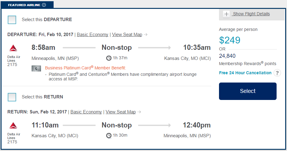 Delta Minneapolis to Kansas City Basic Economy via Amex Travel
