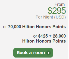 Hilton HHonors points and cash