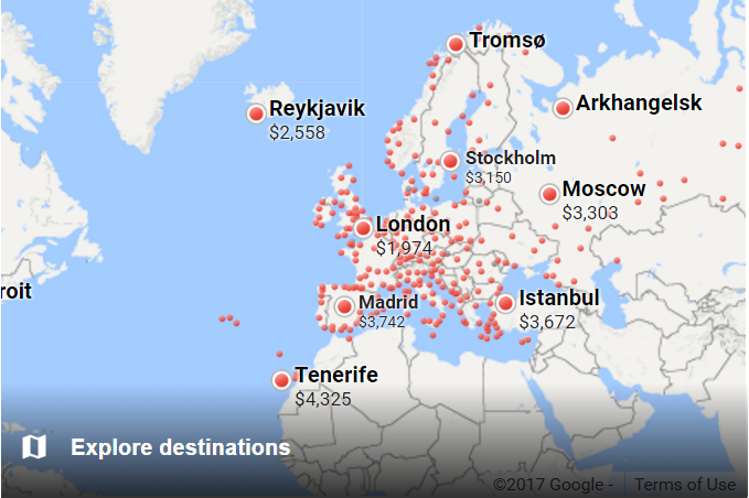 Google Flights Discover Destinations Europe Fixed Dates Explore Map
