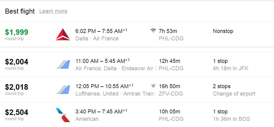 PHL-CDG airlines