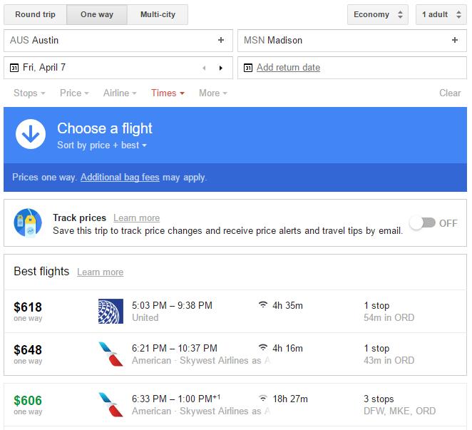 Google Flights AUS-MSN