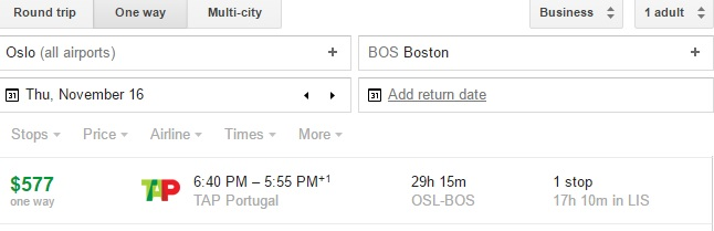 OSL-BOS one way