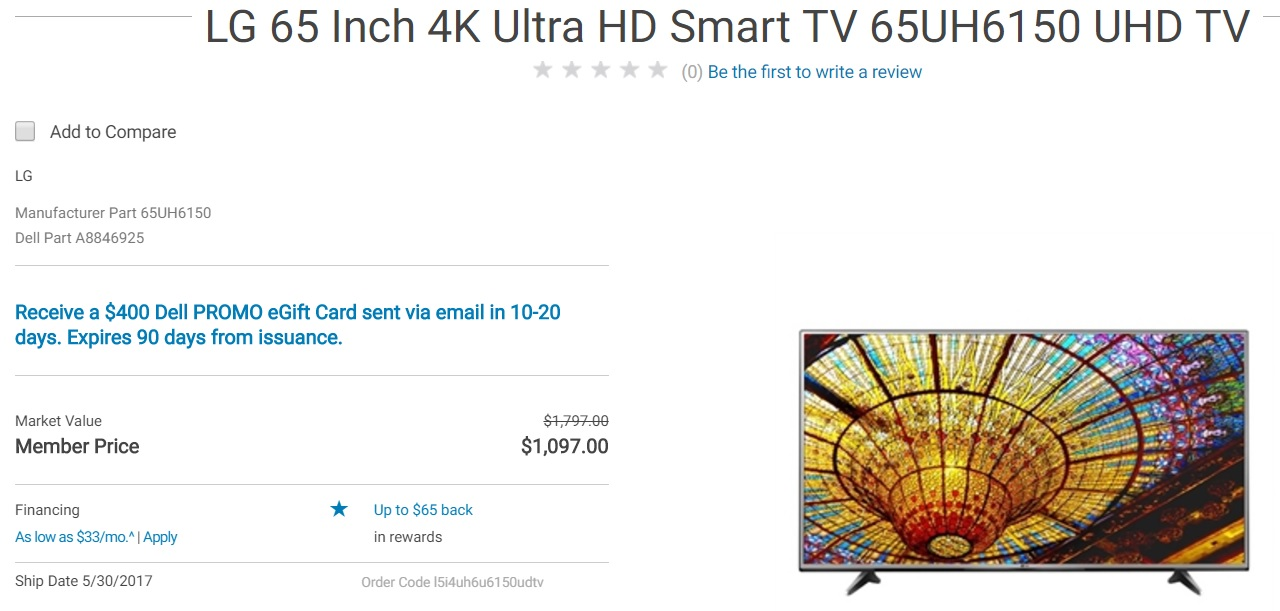 LG 65 Inch 4K Ultra HD Smart TV 65UH6150 UHD TV