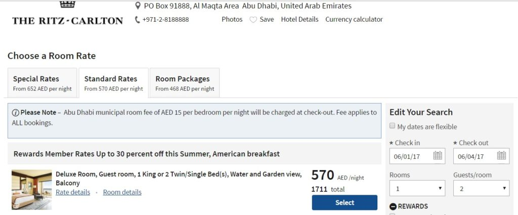 Ritz-Carlton Abu Dhabi Rates 30% off