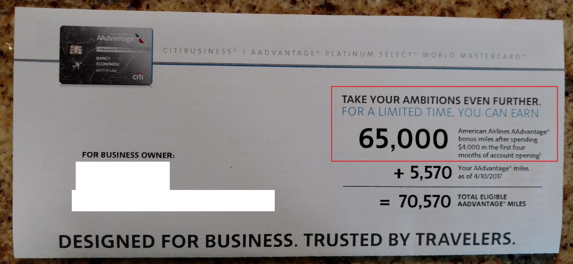 Citibusiness 65K Offer