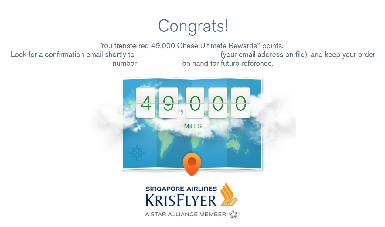Transfer Chase Ultimate Rewards to Singapore Airlines Krisflyer