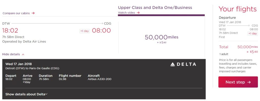 Book Delta with Virgin Atlantic miles online