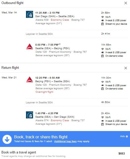 Delta San Diego to Beijing $653