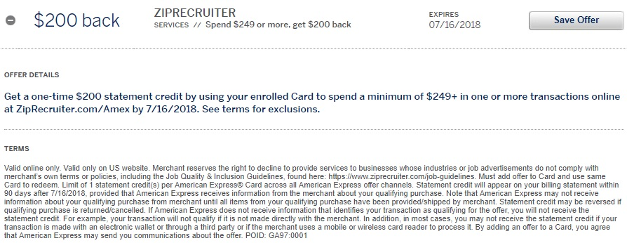 ZipRecruiter Amex Offer