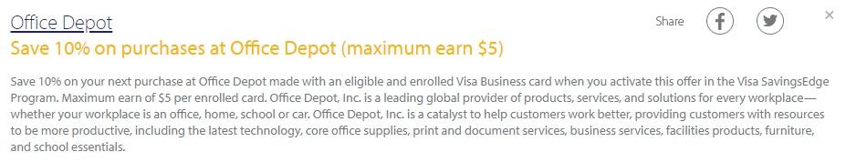 Office Depot Visa Savings Edge