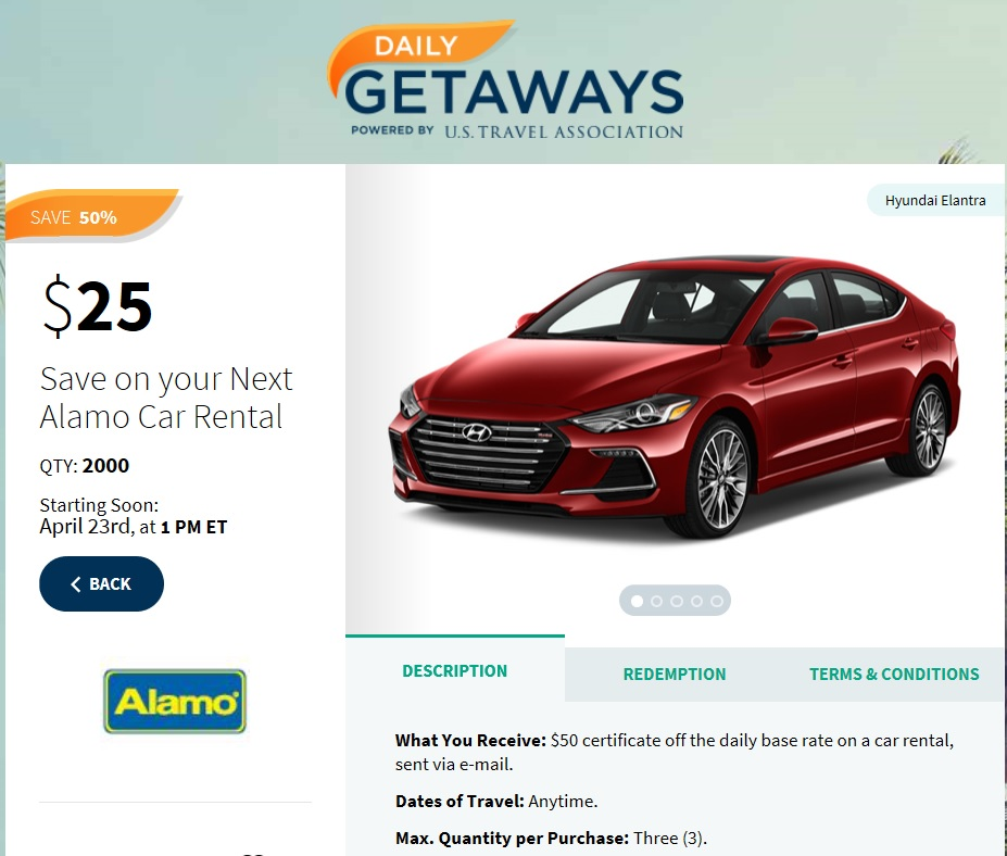 Nice Discount On Alamo Rental Cars At 1pm 4/23