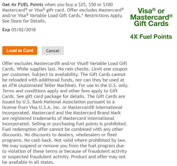 Kroger 4x fuel points on Visa & Mastercard gift cards