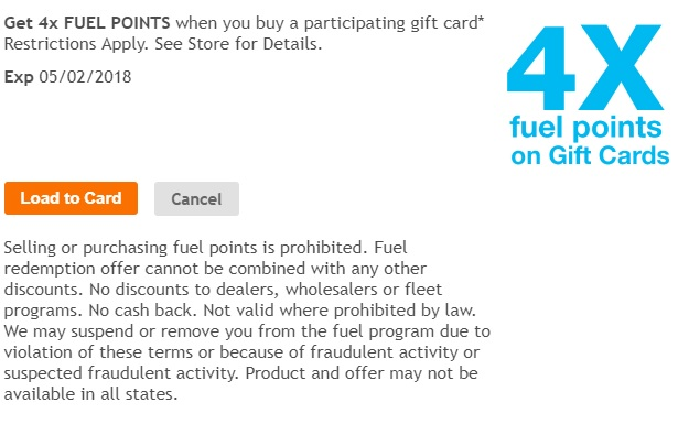 Kroger 4x fuel points on third party gift cards