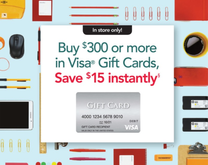 Office Depot $15 Instant Discount Visa Gift Cards