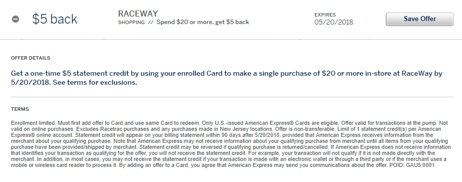 Raceway Amex Offer Terms - $5 back