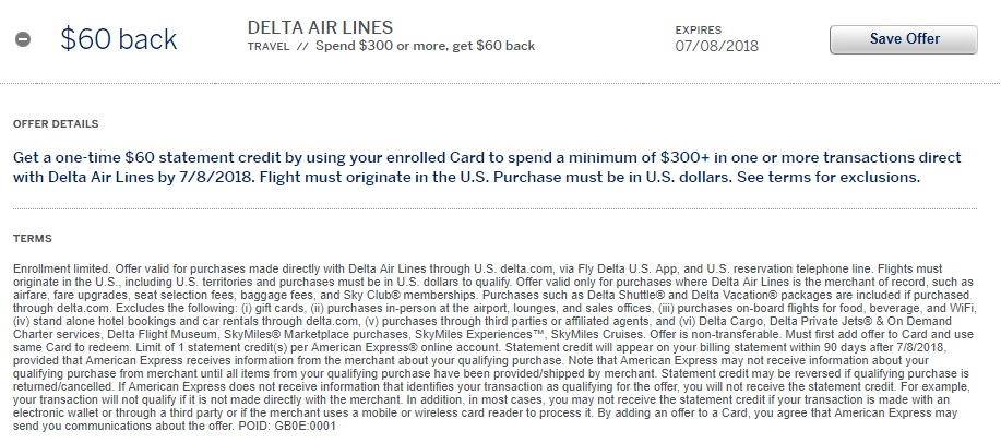 Delta Amex Offer