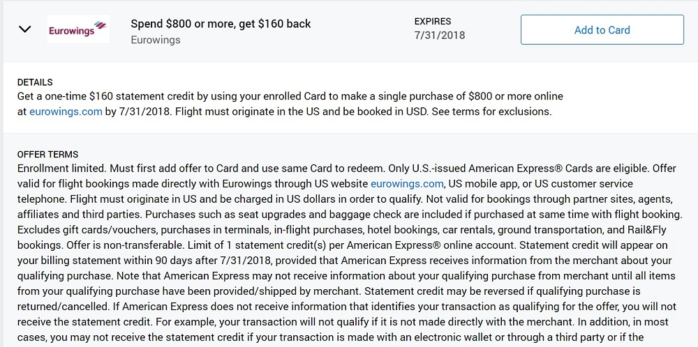 Eurowings Amex Offer Terms & Conditions