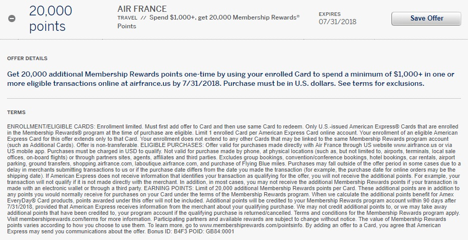 Air France Amex Offer