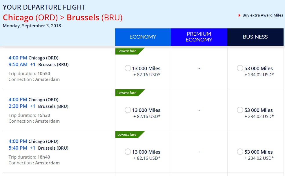 Flying Blue Promo Rewards ORD-BRU