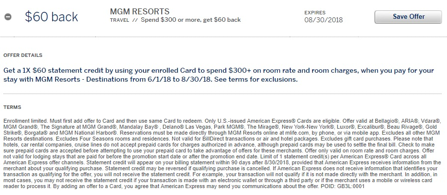 MGM Resorts Amex Offer Terms $60 Statement Credit