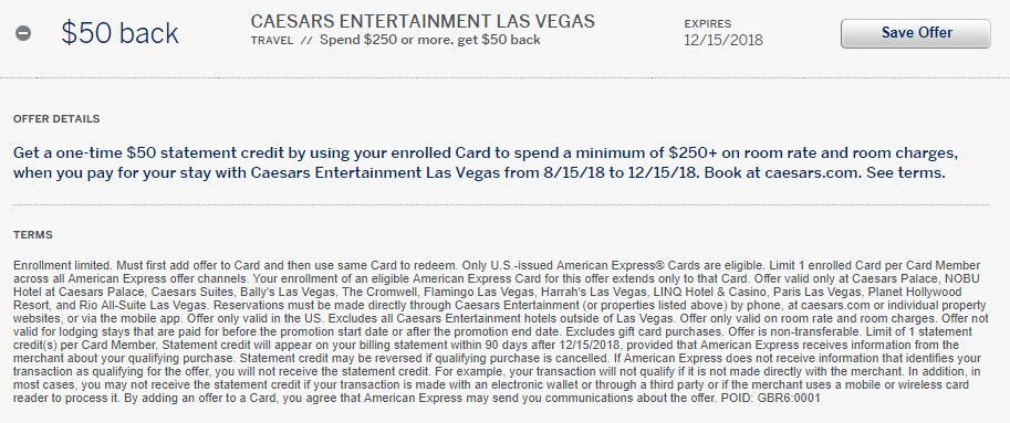 Caesar's Entertainment Amex Offer - Spend $250, Get $50 Back