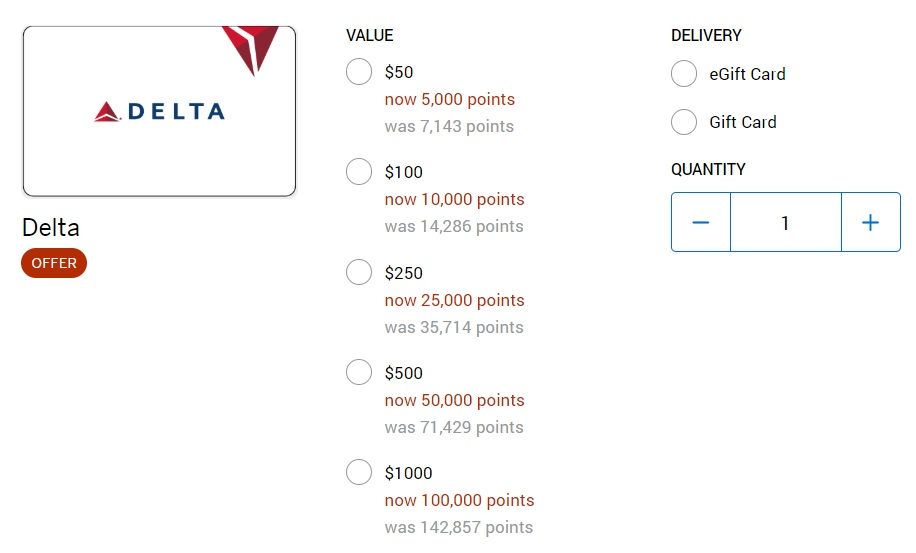 Delta Gift Cards Membership Rewards