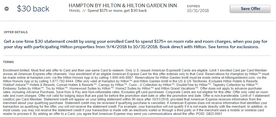 Hampton Inn & Hilton Garden Inn Amex Offer $30 Back