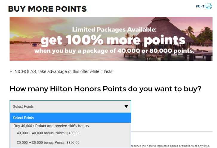 Expired Buy Hilton Points For 0 5c Each