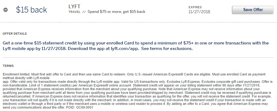 Lyft Amex Offer $15 Statement Credit
