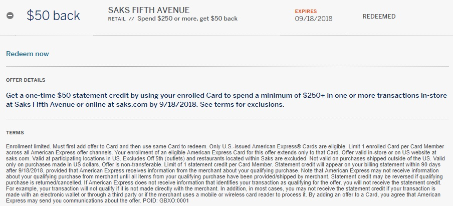 Saks Amex Offer $50 statement credit