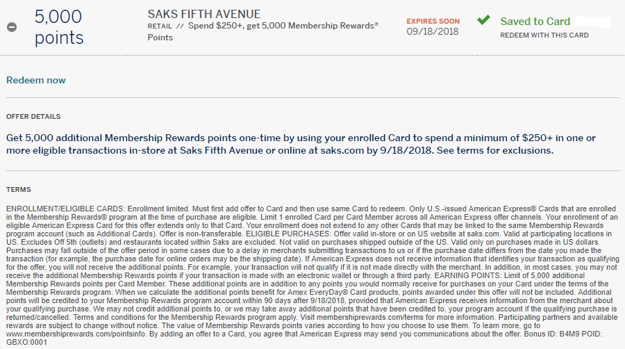 Saks Amex Offer 5,000 Membership Rewards