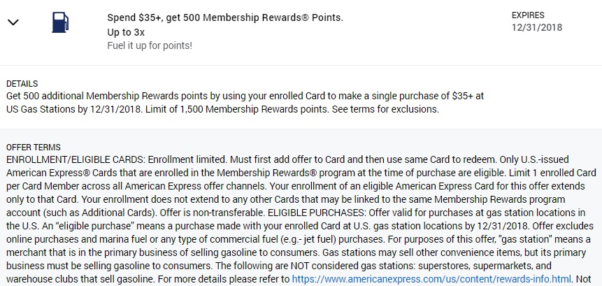 Gas Station Amex Offer 500 Membership Rewards