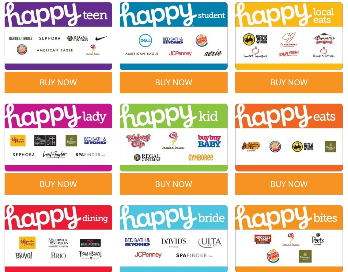 (EXPIRED) $60 Happy gift cards for $50 at GiftCardMallHappy Gift Cards